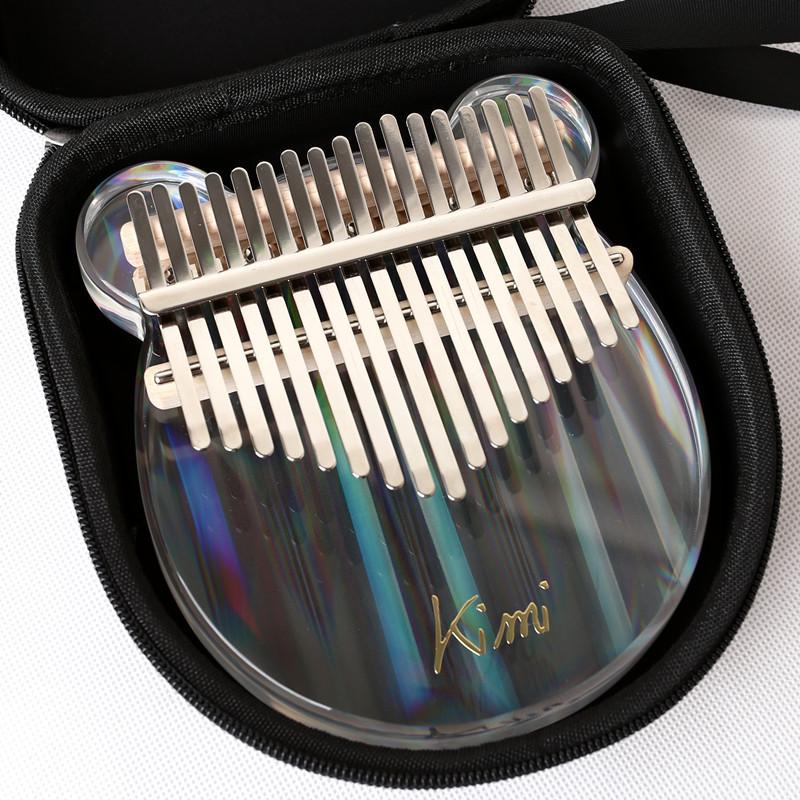 Kalimba Acrylic 17 Key Transparent Thumb Piano Mbira Sanza with Tuner Hammer Gig Kalimba Case